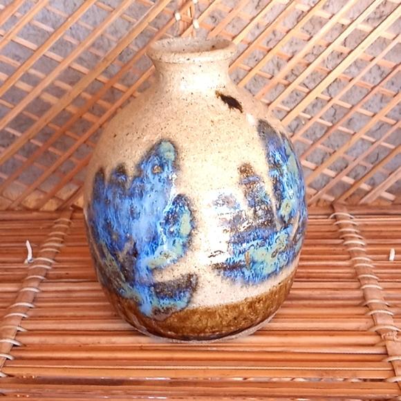Vintage stoneware studio pottery vase blue glaze